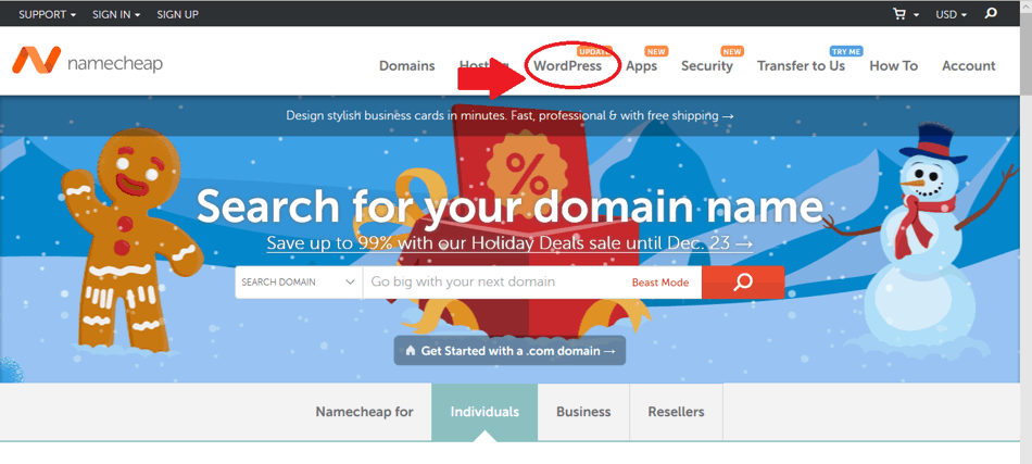 Domain site for wordpress